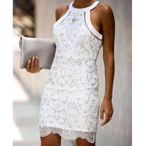 White Sequins Cocktail Dress